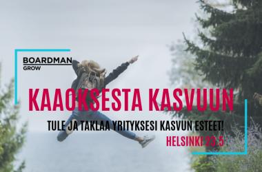 Kaaoksesta kasvuun! -kasvusparraustilaisuus Helsingissä 23.5.